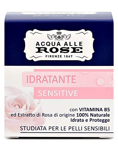 Acqua alle Rose, Crema Viso Idratante Sensitive con Vitamina B5 ed Estratto di Rosa di Origine 100% Naturale, Ideale per Pelli Secche o Sensibili, Formula Idratante - 50 ml