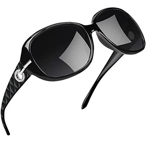 Joopin Occhiali da Sole da Donna Polarizzati Grandi Protezione UV400 Vintage Retrò Designer Oversize Occhiale Donna da Sole (Neri)