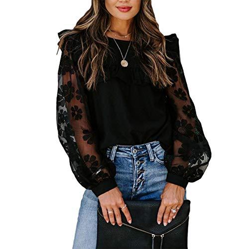 WangsCanis Blusa Donna Elegante Vintage Camicia Top Girocollo a Maniche Lunghe a Sbuffo Trasparente per Primavera/Autunno