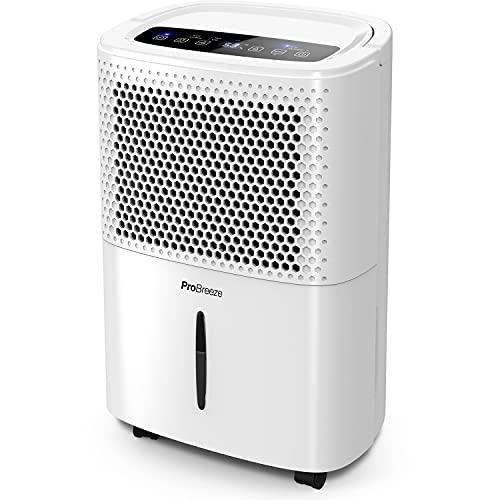 Pro Breeze Deumidificatore 12L / Day con display digitale dell'umidità, modalità Sleep, drenaggio continuo, asciugatura della biancheria e timer 24 ore - Ideale per umidità e condensa