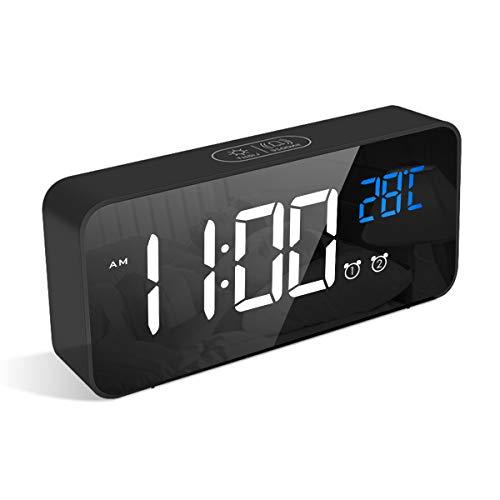 LATEC Sveglia Digitale con LED Temperatura Display Orologio con 13 Suoni di Allarme Porta di Ricarica USB Dimmer di Luminosità Regolabile a Sonnellino Allarme Specchio Portatile con Doppio Allarme