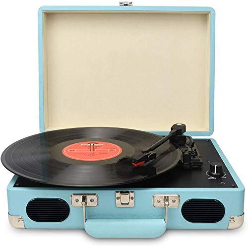DIGITNOW! Portatile Giradischi a 3 Velocità(33 1/3, 45 e 78 Giri), Stile Retro a Vinyl Giradischi valigetta con Altoparlante Stereo, Supporta Uscita USB / Jack per cuffie / MP3 / Riproduzione Musicale