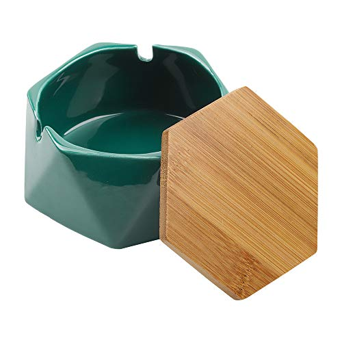 Posacenere in ceramica con coperchio, posacenere per esterni, casa, ufficio e salotto (verde scuro)