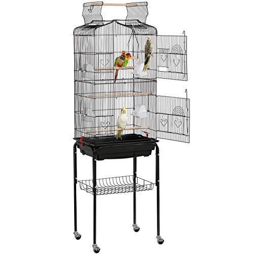 Yaheetech Gabbia Voliera per Uccelli Pappagalli Inseparabili Calopsite Parrochetti in Metallo con Piedistallo Ruote e Tetto Apribile 46 x 35,3 x 150,6 cm Nera
