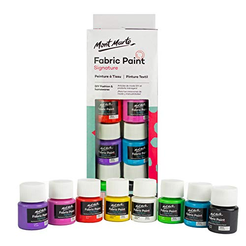 Mont Marte Set Colori per Tessuti - 8 pezzi x 20ml - Pitture Permanenti Tessili - Colori di Alta Qualità - Ideale per Abbigliamento, Borse e tutti i Tessuti - Perfetto per Principianti, Professionisti