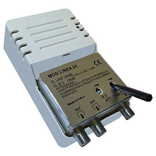 Linea 24 - Amplificatore per Antenna Digitale da Interno a 2 Uscite, Connettore F, Amplificatore di Linea con Guadagno Regolabile 24dB VHF/UHF