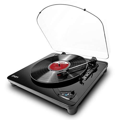 ION Audio Air LP - Giradischi Bluetooth a Tre Velocità con Software di Conversione USB e Finitura in Nero Lucido