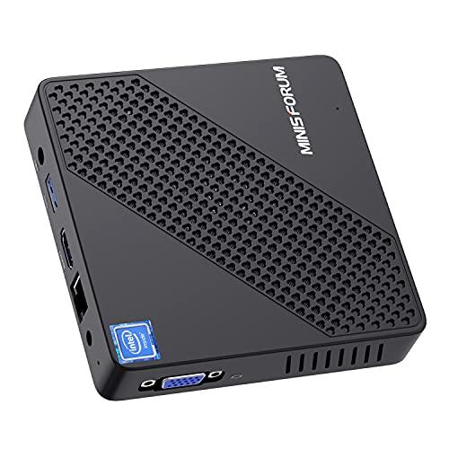 Mini PC Fanless Intel Celeron N4020 (up to 2.8GHz) 4GB DDR4/64GB eMMC Mini Desktop Computer Windows 10 Pro HDMI and VGA Port 2.4/5.8G WiFi BT5.0 3xUSB3.0, NGFF 2242 SSD