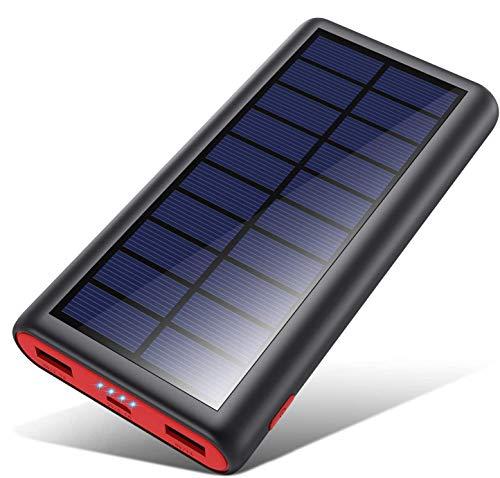 Powerbank Solare 26800mAh,VOOE【2020 Chip intelligente】Caricabatterie Solare Portatile Caricatore Solare Impermeabile Batteria Esterna 2 Porte 3.1A Ricarica Rapida per Cellulare iPad Tablets