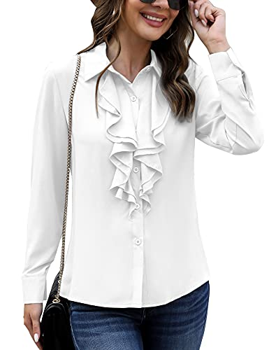 Irevial Camicia Bianca Donna Maniche Lunghe Camicia Donna Elegante Blusa Donna Bianca con Bottoni