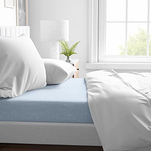 ROSE BELLA lenzuolo con angoli in flanella 100% cotone, lenzuola matrimoniali o singolo (letto 90 | 90 x 200 x 25, blu chiaro)