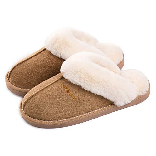 Pantofole Scamosciate da Donna Interne Casa Morbida Autunno Inverno Memoria Schiuma Pavimento Indoor Outdoor Marrone Chiaro 36.5-38 (etichetta 40-41)