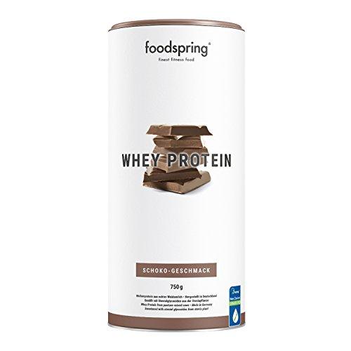 foodpring Proteine Whey, Cioccolato, 750g, Formula in polvere con un alto contenuto proteico per muscoli più forti, a base di latte di alta qualità di mucche allevate al pascolo