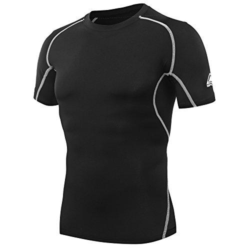 AMZSPORT - Maglietta a Maniche Corte da Uomo, a Compressione e ad Asciugatura Rapida