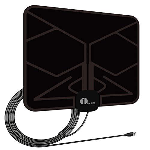 Antenna Interna TV, 1byone Antenna per DTT DVB-T/DVB-T 2 per TV con Digitale, Antenna HDTV Super Sottile VHF/UHF/FM, 0,5 mm per Ricezione Perfetta, con 4m di Cavo, Alte Prestazioni-Nera