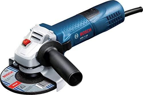 Bosch Professional Smerigliatrice Angolare GWS 7-125, Ø Disco: 125 mm, Impugnatura aggiuntiva, Flangia di Montaggio, Dado di serraggio, Confezione in Cartone, 720 W, 230 V, Blu