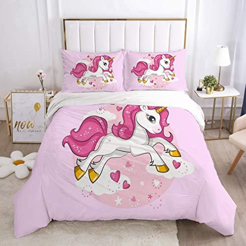 NEWAT Set di biancheria da letto con copripiumino e federa per bambini, motivo: unicorno magico, motivo: principessa e castello incantato (CC,220 x 240 cm)