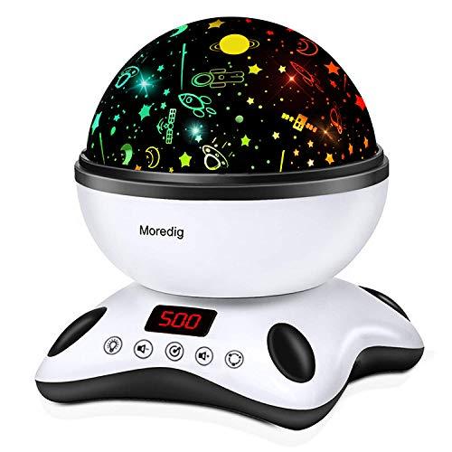 Moredig - Proiettore Stelle Bambini, 360° Rotazione Musicale Proiettore Lampada con lo Schermo a Led e Telecomando, 8 Modalità Luce Notturna Bambini, Regalo per Neonati, Nero e Bianco