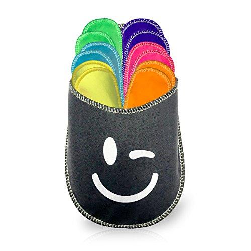 diMio - Set di pantofole 13 pezzi, misure: 34-45, in colori vivaci con custodia, Multicolore (Multicolore), Taglia unica