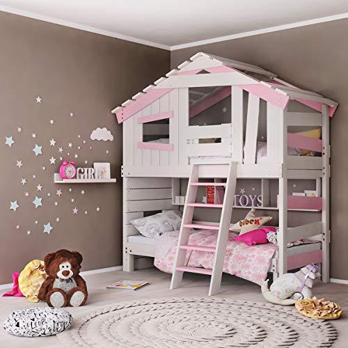 Letto per ragazzi e bambini, letto a castello, letto a castello, casetta per giochi in delicato color crema/bianco/rosa (con porta e ripiano)