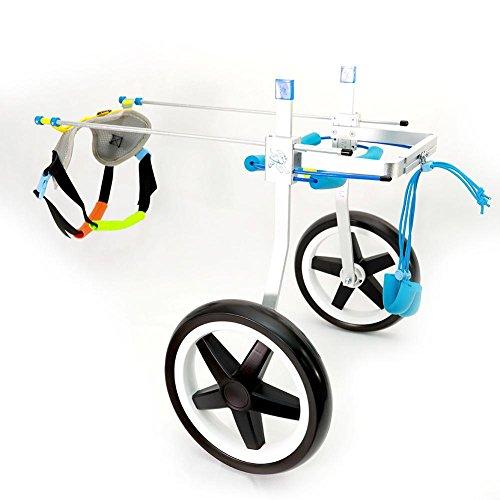 Teabelle - Carrello regolabile per la riabilitazione delle zampe posteriori di cani di piccola taglia e cuccioli, con 2 ruote