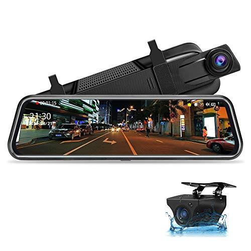 【Neue Version】Jansite Specchio Retrovisore Auto 10 pollici Touchscreen, Posteriore e anteriore 1080P Mirror Dash Cam Specchietto Retrovisore con Cavi da 10m, Visione notturna grandangolare 170°