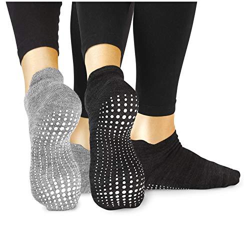 LA Active Calze Presa Antiscivolo Cotone - 2 Paia - Per Yoga Pilates Danza Ballet Sbarra (Slate Grey e Stellar Black, 37-40 EU)