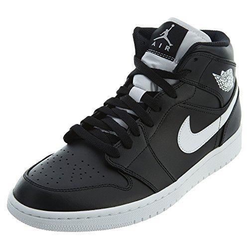 Nike Air Jordan 1 Mid - Scarpe da Basket Uomo, Nero (Black/White/White), 43 EU