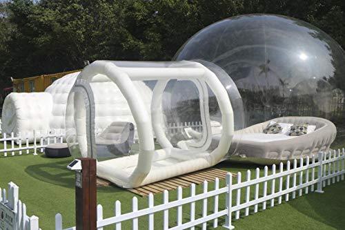 INFLATELINES Tenda a Bolle per Campeggio all'aperto Gonfiabile con visualizzazione Trasparente ((3/4/5 m) con Tunnel Singolo da 2 m, soffiante e Pompa ad Aria
