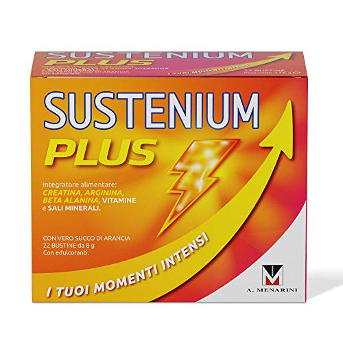Sustenium Plus - L'Integratore Tonico A Base Di Vitamine, Sali Minerali E Con L'Aggiunta Di Creatina Per Avere Sempre Il Massimo Dell'Energia. Confezione Da 22 Bustine Da 8Gr. - 176 g