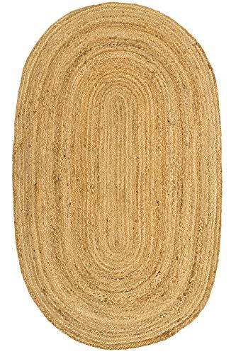 HAMID Iuta Tappeto Alhambra - Tappeto di juta naturale rotondo Tappeti 100% Fibra di Juta (150X90cm)