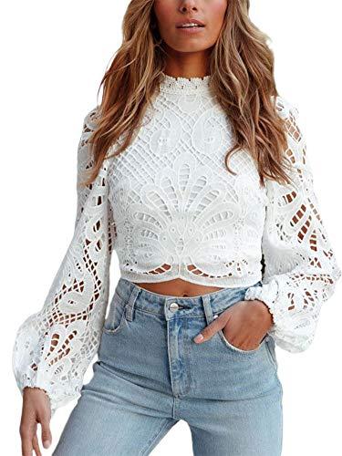 Zukmuk Camicetta di Pizzo Donna T-Shirt Casual Crop Top Maglia Top Camicia a Maniche Lunghe a Sbuffo Clubwear Top Chic Elegante (Bianco, M)