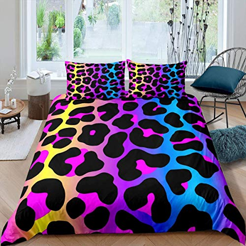 Set copripiumino super king size con stampa di animali 3D leopardo, set di biancheria da letto con motivo animali selvatici e ghepardo, splendido copriletto colorato con 2 federe in morbida microfibra