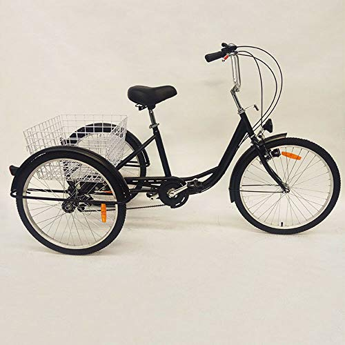 Bicicletta triciclo per adulti da 24 pollici, 3 ruote, 6 ospiti, triciclo, con cestino, per anziani, shopping Bike Trike