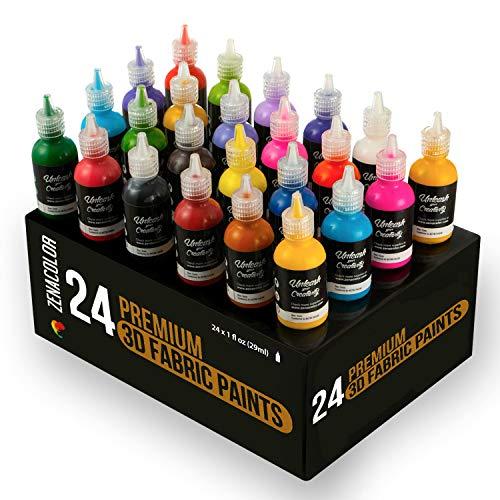 Zenacolor 24 Tubetti di Pittura Stoffa e Tessuti in 3D - Premete i Tubetti (29mL) per Stendere Il Colore sui Tessuti (Cotone) - Personalizzare T-Shirt, Vestiti e Decorare Tela, Legno, Vetro