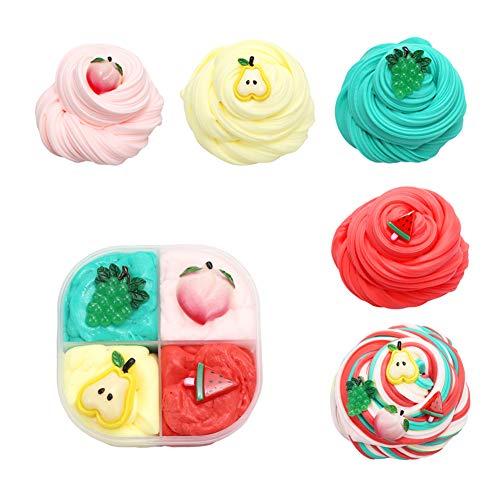 SWZY slime fluffy, melma di frutta, abbinamento di colori, con accessori pera / uva / anguria / pesca, giocattoli di stucco di argilla per ragazzi e ragazze, 4 colori