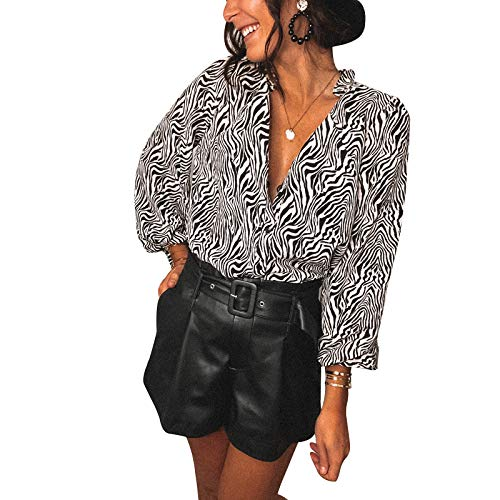 Loalirando Camicia Donna in Pizzo a Manica Lunga Elegante Sexy Scollo a V Serata Clubwear Sottile Casual (Bianco, L)