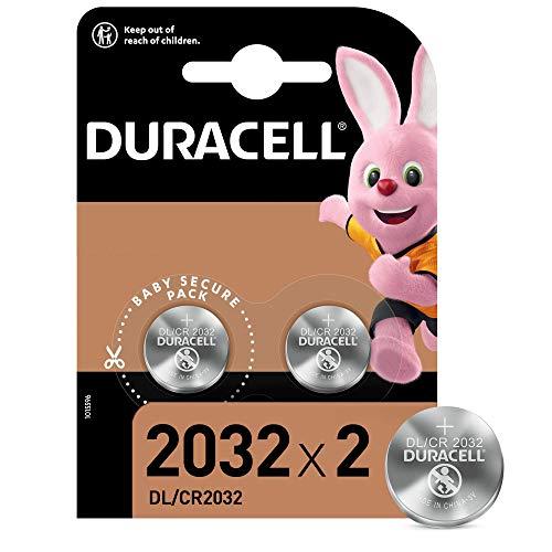 Duracell - 2032, Batteria Bottone al litio 3V, confezione da 2, con Tecnologia Baby Secure per l'uso su chiavi con sensore magnetico, bilance, elementi indossabili (DL2032/CR2032)