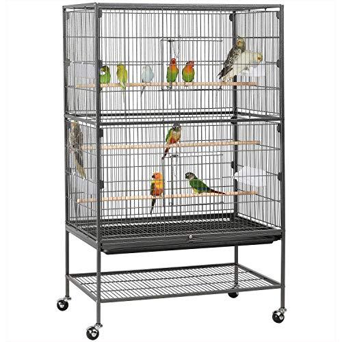 Yaheetech Gabbia Voliera per Pappagalli Uccelli Grandi Inseparabili Calopsite con Piedistallo Ruote in Metallo da Interno e Esterno 78,3 x 52 x 132 cm Nera