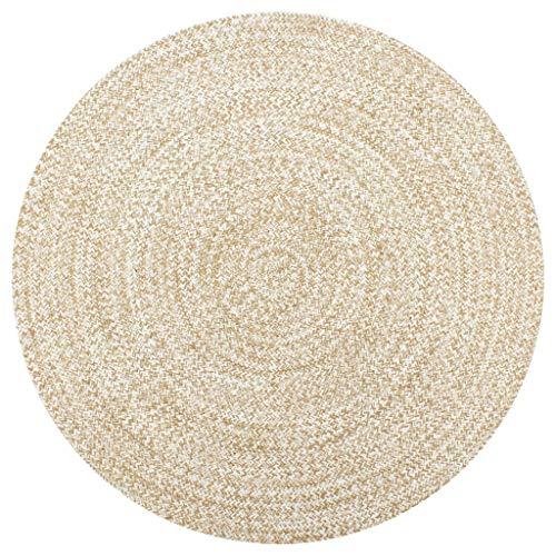 vidaXL Tappeto Artigianale Manuale Corsia Passatoia Rotonda Rustica Cucina Protezione Pavimento in Juta Intrecciata Bianco e Naturale 90 cm