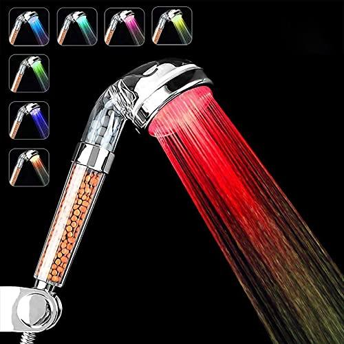 Soffione doccia a LED, 7 Colori Cambiano,filtro ionico SPA, filtro ad alta pressione, risparmio idrico Per la Pelle Secca e Capelli (7 Colori)