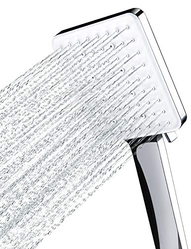 Newentor - Soffione doccia ad alta pressione con 6 spruzzi, solo soffione per doccia, universale, a risparmio idrico, grande soffione quadrato cromato