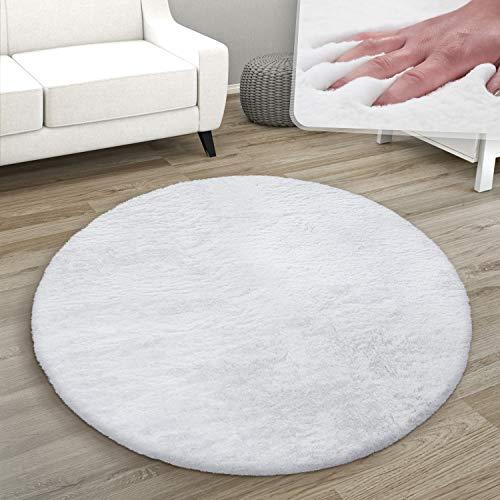 Tappeto Rotondo Soggiorno, Morbido Moderno Finta Pelliccia Soffice Pelo Lungo, Dimensione:Ø 80 cm Tondo, Colore:Bianco