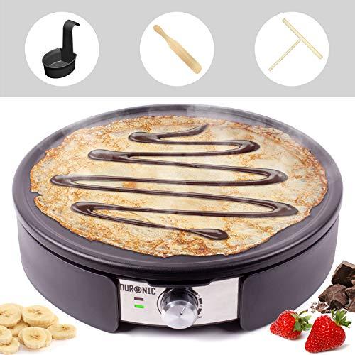 Duronic PM152 Crepiera 1500W con piastra antiaderente per crepes da 37 cm – Accessori inclusi – Temperatura regolabile – Ideale per preparare pancake, crepes, frittate