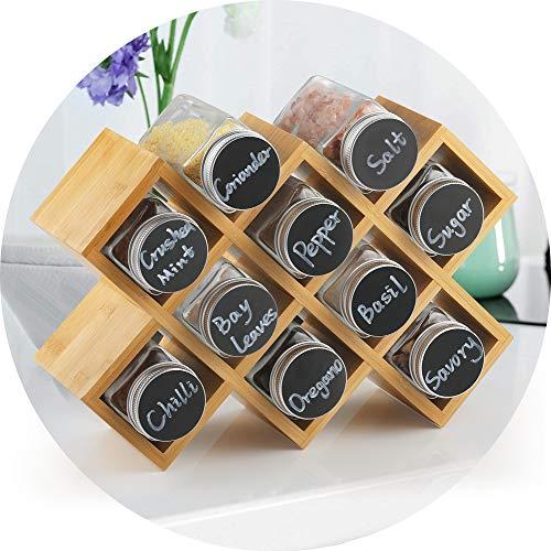ecooe Portaspezie di bambù con 10 barattoli di spezie e barattoli di Alluminio per l'armadio da Cucina e Il Piano di Lavoro