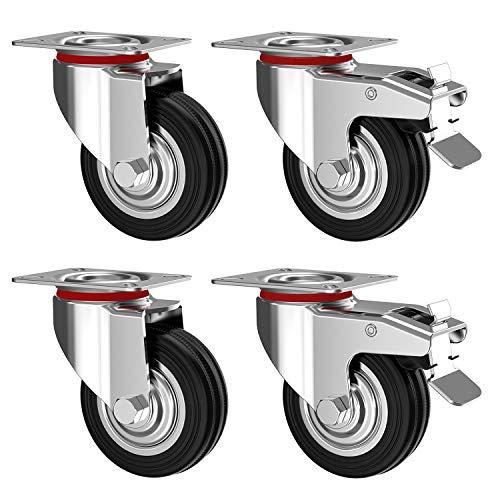Nirox Set da 4 Ruote per carichi pesanti 75 mm - Ruote pivontanti per mobili con freno fino a 200 kg - Ruote girevoli per uso interno ed esterno - Altezza totale delle rotelle piroettanti 95 mm
