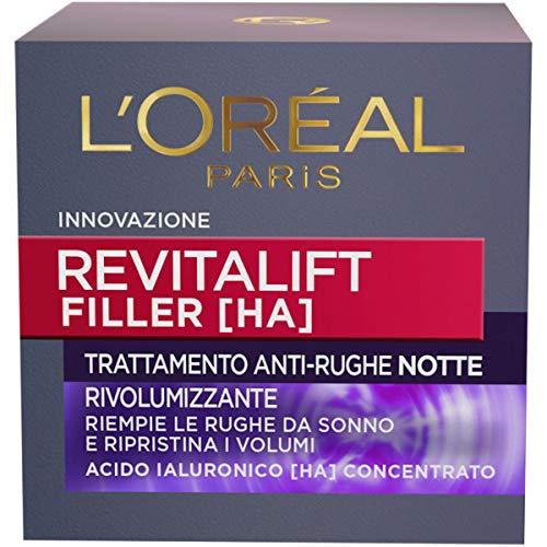 L'Oréal Paris Crema Viso Notte Revitalift Filler, Azione Antirughe Rivolumizzante con Acido Ialuronico Concentrato, 50 ml