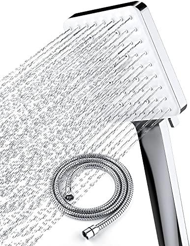 Soffione doccia con tubo flessibile, soffioni doccia ad alta pressione Newentor con tubo 1,5 m, soffione doccia universale e set di tubi flessibili con 6 modalità di impostazione, cromato