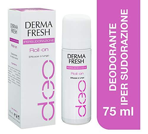 Dermafresh Ipersudorazione Roll-On Deodorante Fresco No Alcol e Conservanti per Regolare la Sudorazione Corporea in Eccesso - 75 ml