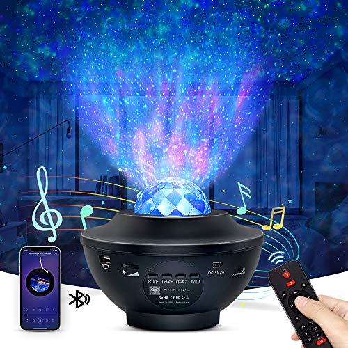 OTTOLIVES Proiettore a Luce Stellare, LED Lampada con Starry Stella Luna onda d' Acqua Effetto Onda, Telecomando Altoparlante Bluetooth Rotazione Musicale Proiettore per Bambini Adulti Regalo